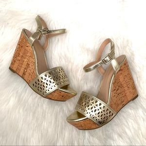 NWOT BCBGeneration Pippi Gold Laser Cut Wedges